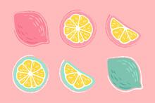 Lemon, Orange, Lime. Set Of Hand-drawn Pencil, Pen In Cartoon Style Isolated On Pink, Bright Background. For A Logo, Print On A T-shirt, Bag, Sticker.