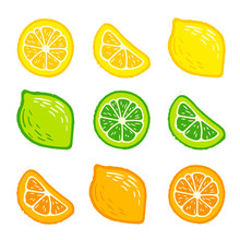 Lemon, Orange, Lime. Set Of Hand-drawn Pencil, Pen In Cartoon Style Isolated On White Background. For A Logo, Print On A T-shirt, Bag, Sticker-02