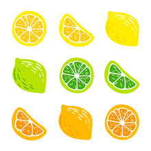 Lemon, Orange, Lime. Set Of Hand-drawn Pencil, Pen In Cartoon Style Isolated On White Background. For A Logo, Print On A T-shirt, Bag, Sticker-01