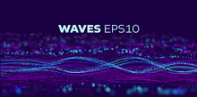 Sound Wave Tranfer Motion. Speed Particle Fast Data Flow. Futuristic Stream Abstract Vector Background. Data Transfer Motion