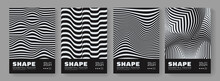 Set Of Optical Illusion Posters. Abstract Stripes. 3d Wavy Lines Background.
