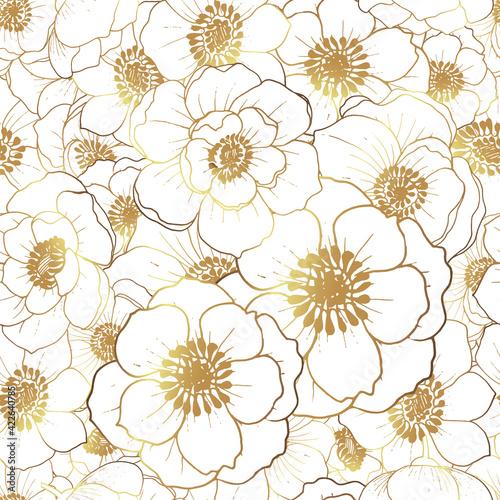 Foto Pattern flowers golden