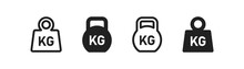 Weight Icon Set. Kg Bell Logo. Kettlebell, Heavy Sign. Iron Dumbbell Sumbol In Vector Flat
