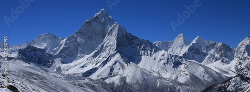 Mount Ama Dablam on a spring morning. Scene in the Everest National Park. #422650918