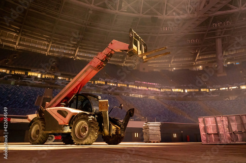 Canvas Lifting machine inside stadium