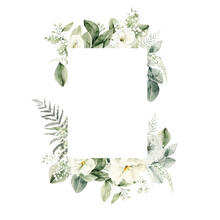 Watercolor Floral Wreath Of Greenery. Hand Painted Frame Of White Flowers,  Green Eucalyptus Leaves, Forest Fern, Gypsophila Isolated On White Background. Botanical Illustration For Design, Print