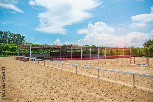 Fototapeta Accessories for horse trainings and events in rural equestrian training centre obraz