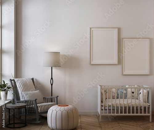 mockup poster in cute nursery room