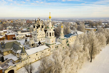 Picturesque Murom City Landscape Covered With Snow With Two Main Monasteries - Trinity Convent And Annunciation Monastery, Russia