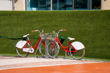 Two Vintage Style Beach Cruisers On A Green Hedge Bush
