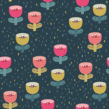 Cute Seamless Pattern With Pink And Mustard Tiny Flowers On The Navy Blue Polka Dots Background. Vector Doodle Flowers. Fun Pattern For Fabric And Clothes.