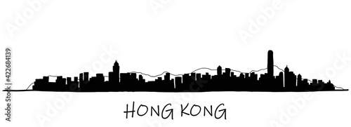 Billede på lærred Hong Kong skyline freehand drawing sketch on white background.