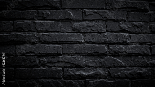 Fotografia Black brick wall for background
