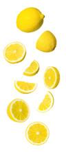 Fresh Ripe Lemons Falling On White Background