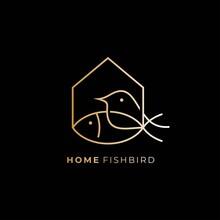 Fish Bird House Design Logo 4