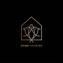 Fish Bird House Design Logo