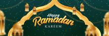 Happy Ramadan Kareem Banner. With Realistic Islamic Ornament. Web Banner Design. Vector Illustration