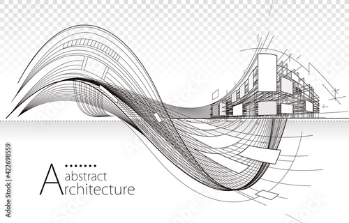 Fotografia Architecture building construction perspective design,abstract modern urban building line drawing