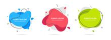 3 Modern Liquid Irregular Amoeba Blob Shape Abstract Elements Graphic Flat Style Design Fluid Vector Illustration Set