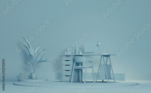 Obraz Pastel blue monochrome minimal office table desk. Minimal idea concept for study desk and workspace. Mockup template, 3d rendering - fototapety do salonu