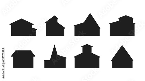 Canvas Set of silhouettes of buildings isolated on white background