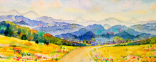 Watercolor Landscape Painting Panorama Colorful Of Natural Beauty.