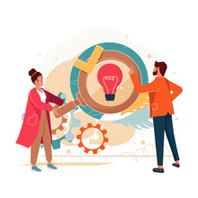 Creative Thinking, Find Ideas, Solutions Abstract Cartoon Vector Illustration. Team Brainstorming, Team Communication, Idea Management, Project Management, Startup Collaboration, Product Development