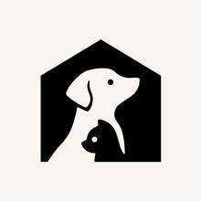 Pet House Dog Cat Hipster Vintage Vector Icon Illustration Stock Illustration