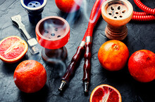 Traditional Oriental Hookah With Orange Tobacco