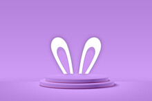 Easter Day Background With Hiding Bunny And A Podium For Product Display