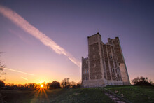 A Dramatic Sunset Over The 12th Century Orford Castle In Suffolk, UK