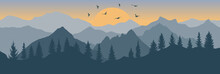 Forest And Mountains And Flying Birds On Background Of Sunrise, Silhouette. Beautiful Landscape. Wallpaper Of Nature. Vector Illustration.