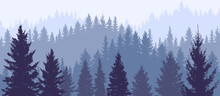 Silhouette Of Forest, Wallpaper Of Nature. Beautiful Landscape, Fir Trees. Vector Illustration