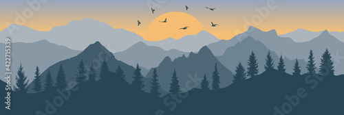 Fototapeta Forest and mountains and flying birds on background of sunrise, silhouette. Beautiful landscape. Wallpaper of nature. Vector illustration. obraz