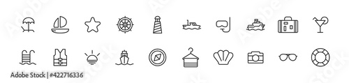 Fotografía Pack of line cruise icons.