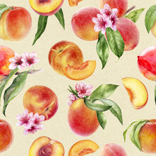 Watercolor Seamless Pattern Peaches With Flowers And Leaves On A Craft Paper Background.