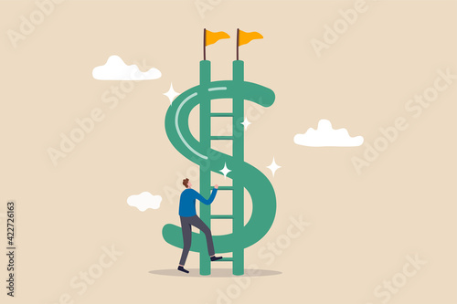 Fototapeta Money ladder to achieve financial independent goal, challenge to reach investment target or wealth planning strategy concept, businessman starting to climb up ladder to the top of money dollar sign. obraz