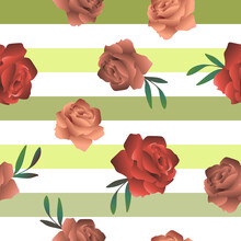 Botanical Roses Pattern. Floral Seamless Background With Buds On Green Striped Decor.