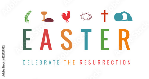 Foto Easter card with christian symbols and text - celebrate resurrection