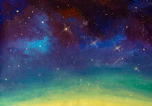 Hand Painted Acrylic Painting Beautiful Starry Sky Universe Space Baqckground. Fairytale Illustration For Book Or Fairy Tale. Fantasy Art.