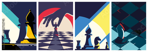 Canvastavla Collection of chess posters. Flyer templates in flat design.