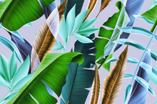 Colorful Seamless Pattern With Tropic Flowers And Leaves. Hi Quality Fashion Design. Fresh And Unique Botanical Background. Seamless Tropical Leaves Pattern.