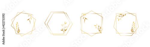 Fototapeta Golden geometric vector frames with leaves. Thin line haxagon borders for luxury premium design obraz