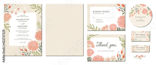 Fotografiet Universal hand drawn floral templates in warm colors perfect for an autumn or summer wedding and birthday invitations, menu and baby shower