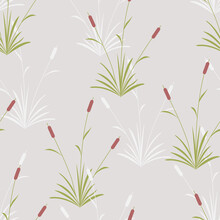 Vector Seamless Pattern With Reedmace Or Typha Latifolia