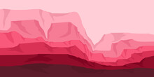 Pink Canyon Flat Design Vector For Web Banner, Adventure Tourism, Adventure Poster Template, Background Template, And Tourism Vacation Promotion Poster Design