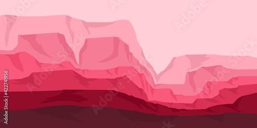 pink canyon flat design vector for web banner, adventure tourism, adventure post Fototapet