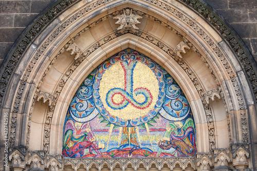 Basilica of St. Peter and St. Paul, Vysehrad, mosaic , Prague, Czech Republic