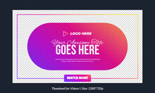 Editable Single Thumbnail Template For Videos And All Social Platforms Premium Thumbnail For Videos Editable Premium Vector, Text Customizable Thumbnails Fully Customizable Vector Gradient Thumbnail
