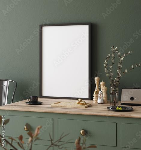 Fototapeta Mock up poster frame in kitchen interior, Farmhouse style, 3d render obraz